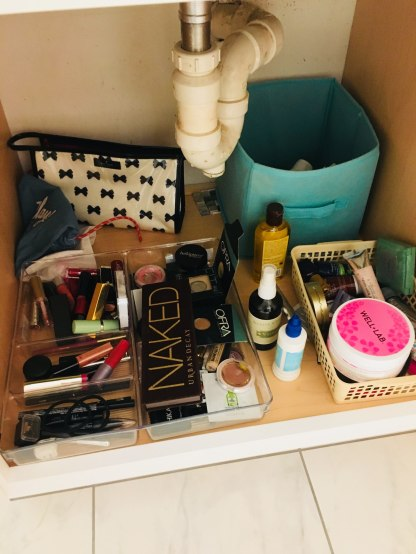 My personal makeup space. Note this is AFTER a major clean-out.